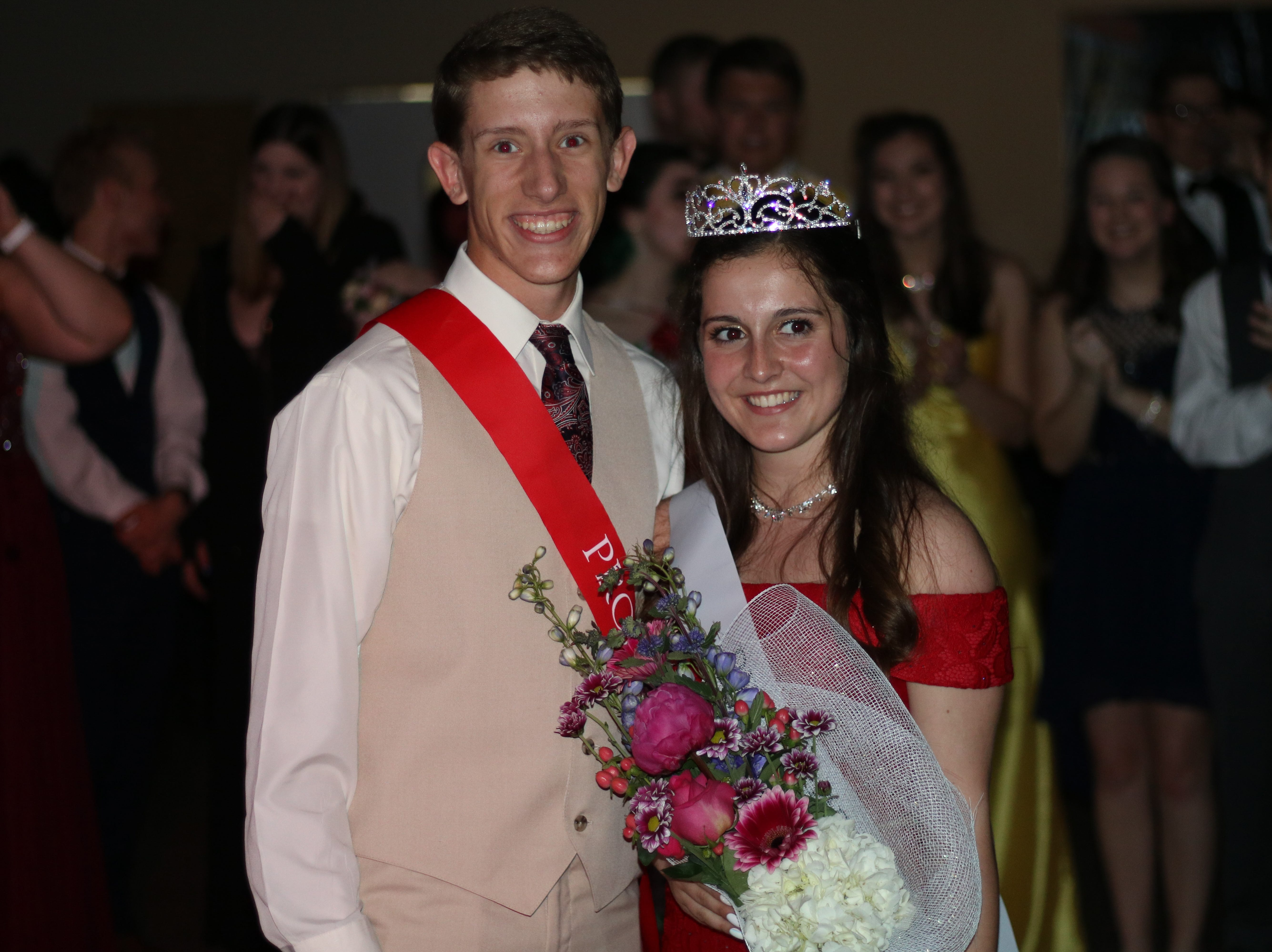 Pleasant's Zach Abraham and Bridgette Murphy pose after the prince/princess announcement at All Occasions in Waldo on Saturday May 4, 2019.