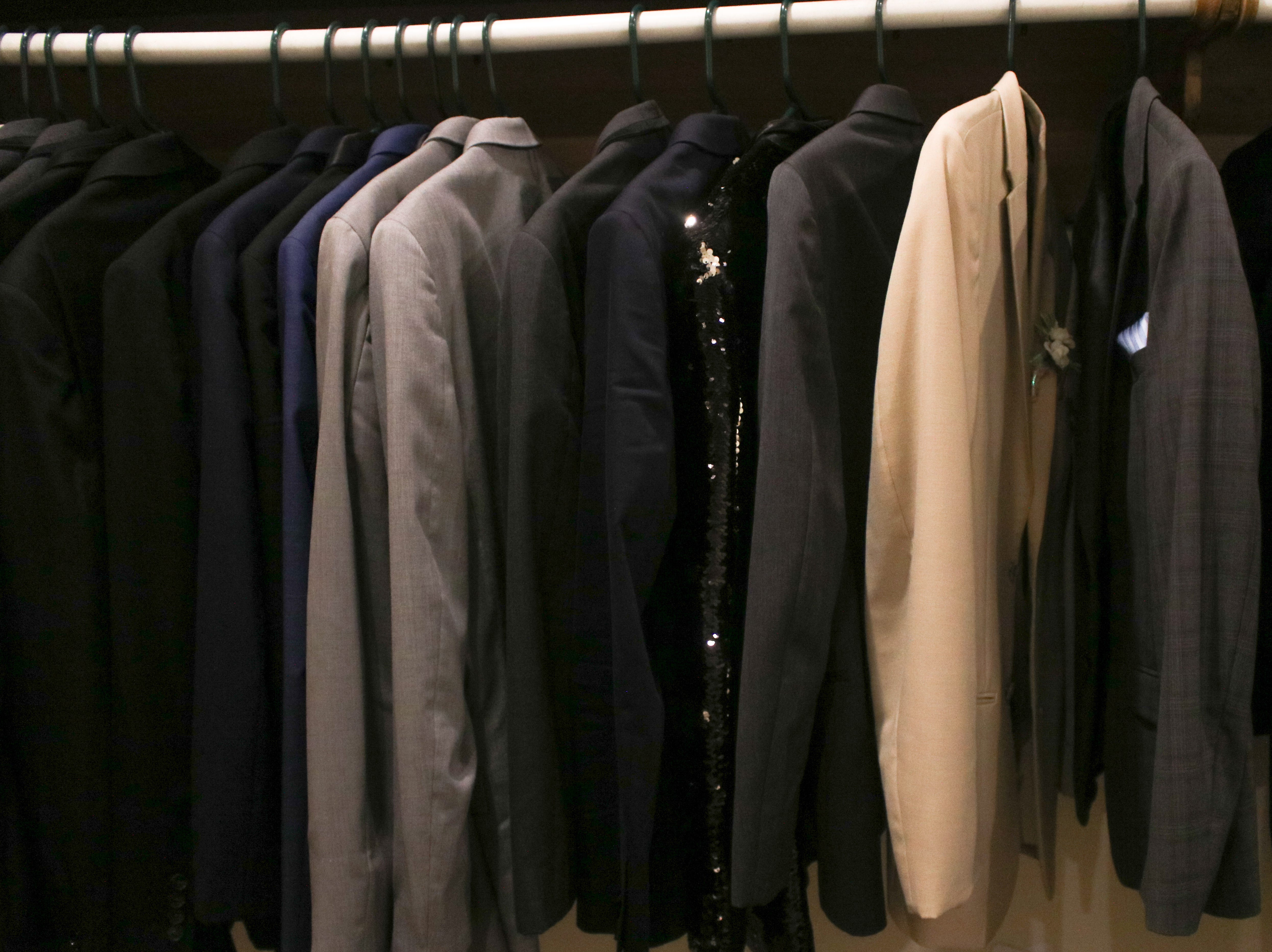 Suit Jackets hang on a rack outside of the Marion Room, where Pleasant's Prom was held at All Occasions in Waldo on Saturday May 4, 2019.