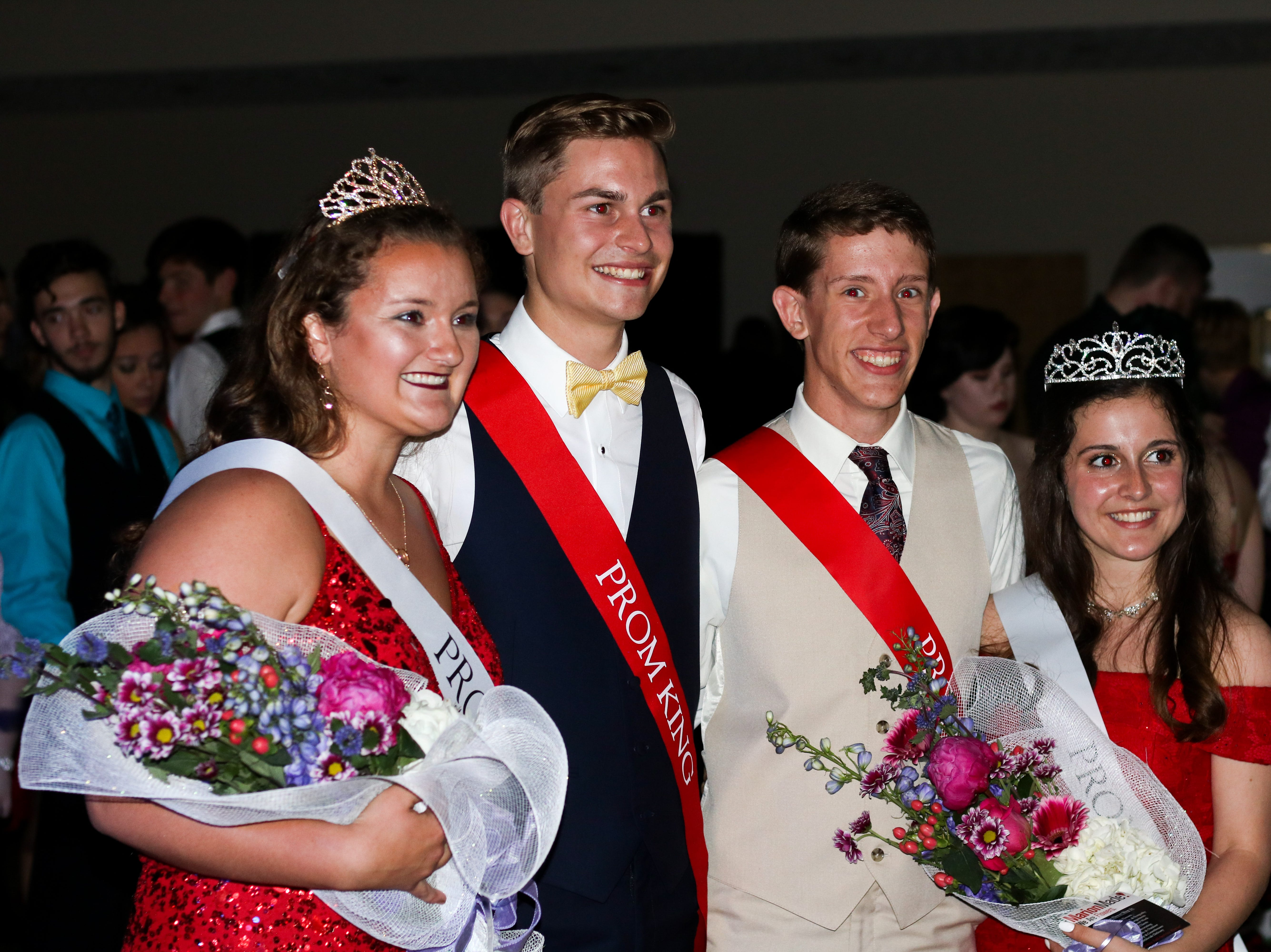 From left to right : Pleasant Prom Queen Grace Davis, Prom King Wyatt Wells, Prom Prince Zach Abraham and Prom Princess Bridgette Murphy pose after being crowned at All Occasions in Waldo on Saturday May 4, 2019.