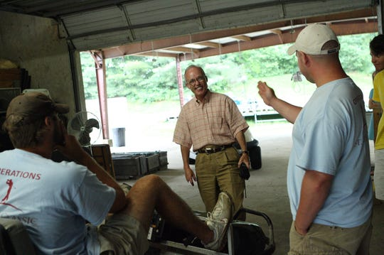 Phil Cannon talks with the operations crew at TPC Southwind in preparation for the 2009 FedEx St. Jude Classic.