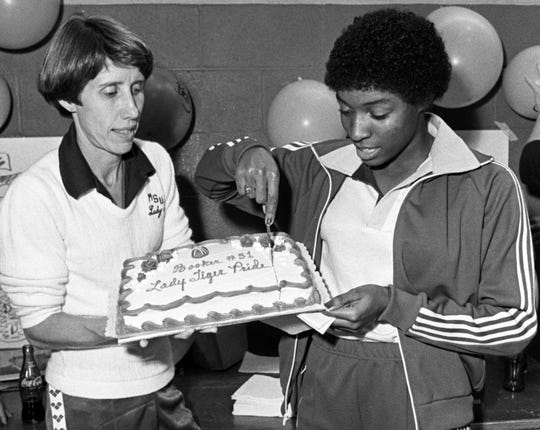Betty Booker, right, is the Lady Tigers' all-time leading scorer and Memphis' first female student-athlete elected to the Tennessee Sports Hall of Fame.