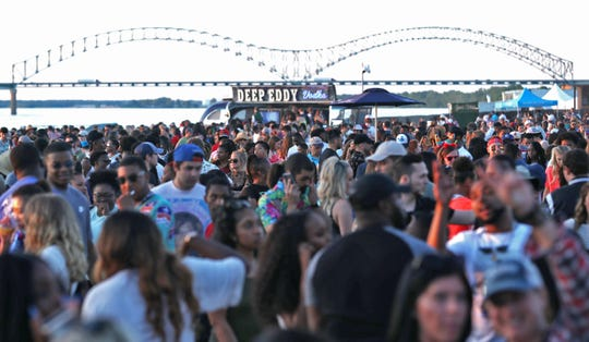 Fans attend the 2019 Beale Street Music Festival, part of the Memphis in May International Festival at Tom Lee Park in Downtown Memphis.
