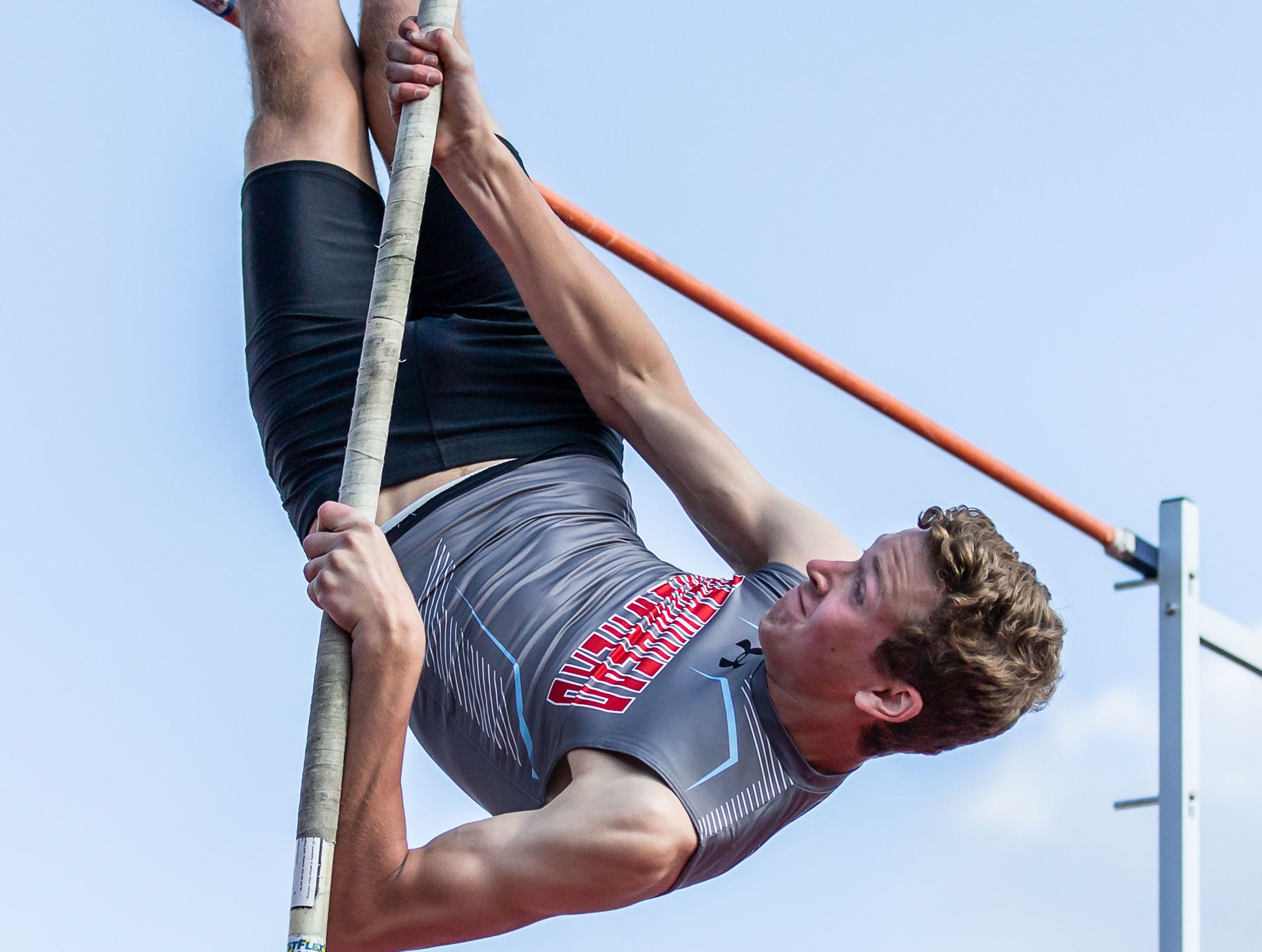 Arrowhead junior Grayson Adams competes in the pole vault at the 2019 Myrhum Invitational track and field meet in Hartland on Saturday, May 4.