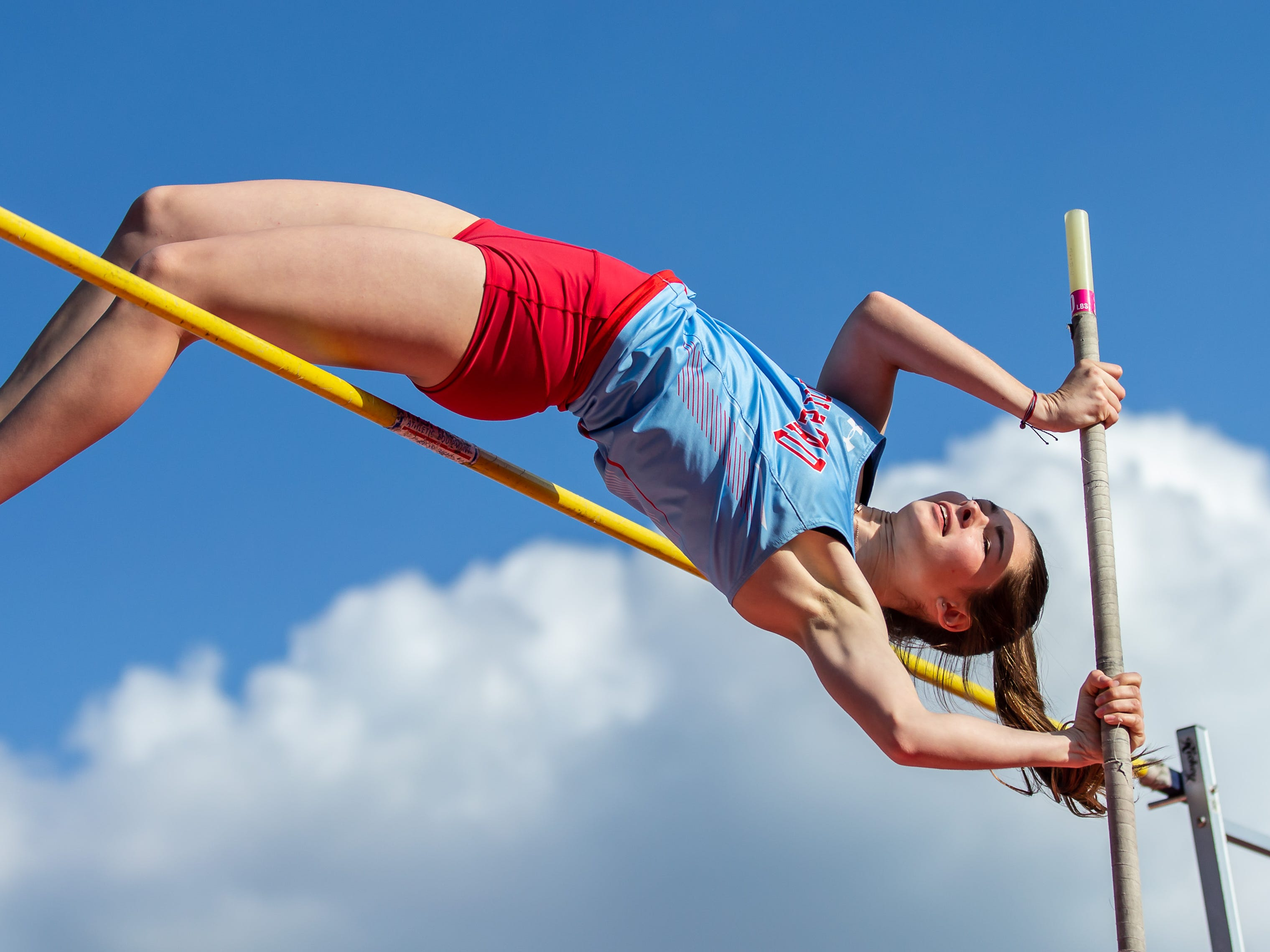 Arrowhead freshman Sophie Herriot competes in the pole vault at the 2019 Myrhum Invitational track and field meet in Hartland on Saturday, May 4.