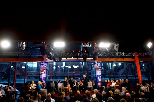 Democratic presidential candidate, U.S. Sen. Bernie Sanders (I-VT) on stage with anchors FOX News Bret Baier and Martha MacCallum at the town hall in Bethlehem, Pa.