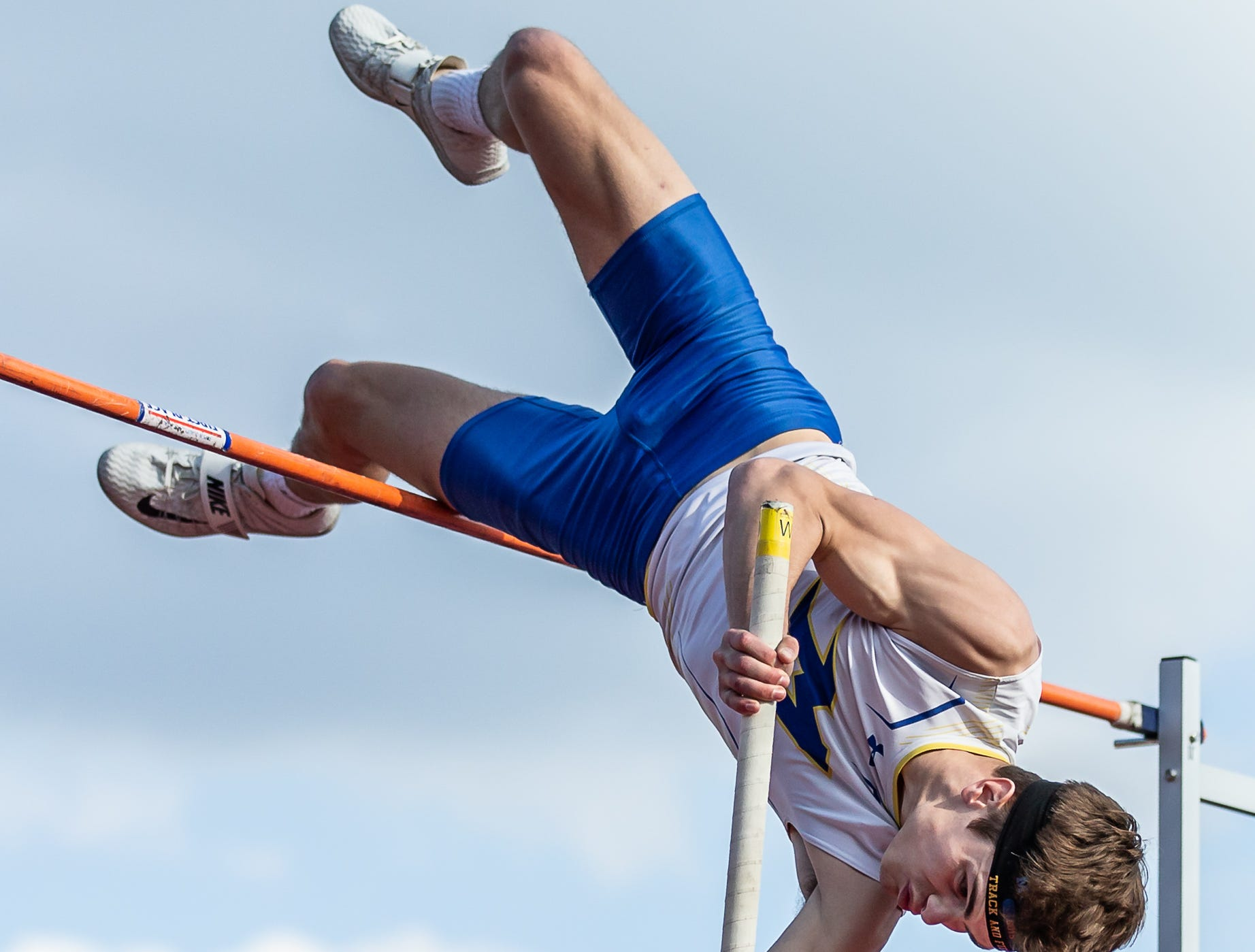 Mukwonago senior Charlie Jungwirth competes in the pole vault at the 2019 Myrhum Invitational track and field meet in Hartland on Saturday, May 4. Jungwirth won the event with a vault of 14-6.00.