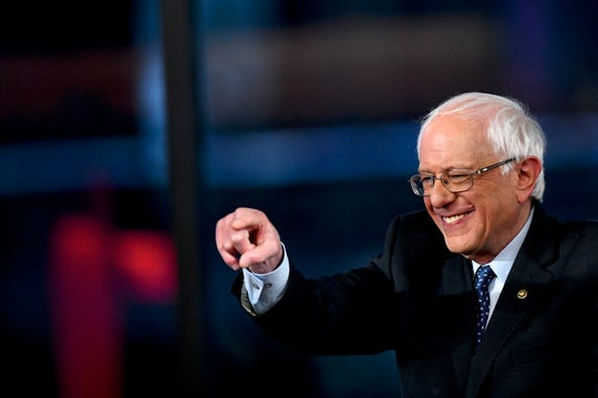 Democratic presidential candidate U.S. Sen. Bernie Sanders (I-VT) speaks at a Fox News town hall in Bethlehem, Pa.