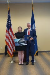 Congressman Ralph Abraham, R-Alto, congratulates Allison Litwin of West Monroe for winning  the 2019 Congressional High School Art Competition for Louisiana's 5th District.