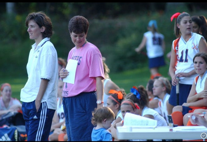 Kelly Preston grew up on the Mountain Lakes sidelines while her mom, Alison Preston (in pink), was coaching. Now Kelly is a Lakers freshman playing field hockey, basketball and softball.
