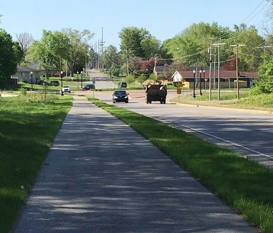 The Morrison Road Trail runs downhill to a roundabout at Jackson Street, near where the trail ends.