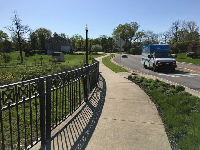 The Morrison Road trail on the west side of Muncie ends at the top of this hill east of the roundabout at Morrison and Jackson Street.