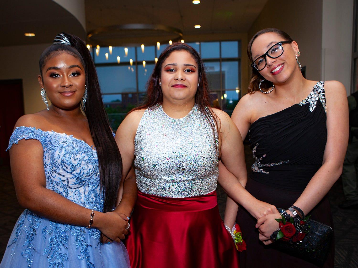 Sydney Jackson, Emily Mercado and Shaolin Eady La Vergne High's prom, held Saturday, May 4, 2019 at MTSU's Student Union Building.