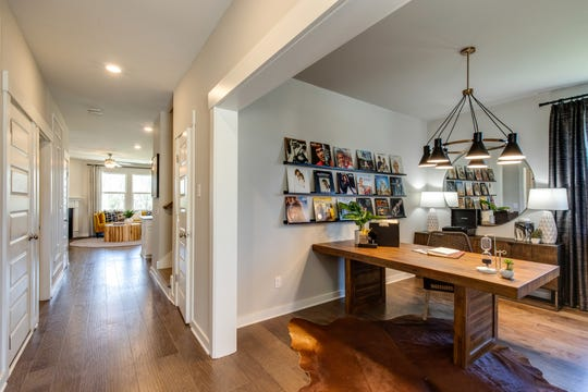 The home office in this Lennar model home in Durham Farms is open but also offerd privacy.