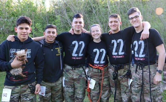 "Marco Pukl, Mario Pukl, Jordan Acevedo, Aleece Givens, John Curry, and Jackson Turner of the Fairview High JROTC Team 2 ""Heavy"" category at the 2019 Mountain Man Memorial March April 27, 2019."