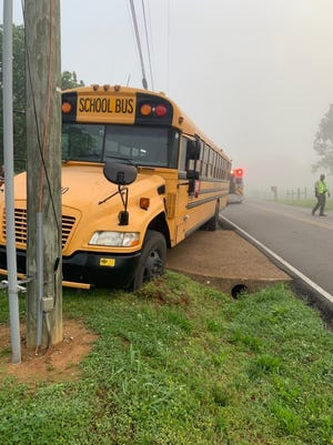A Wilson County school bus hit a utility pole Monday, May 6, 2019.
