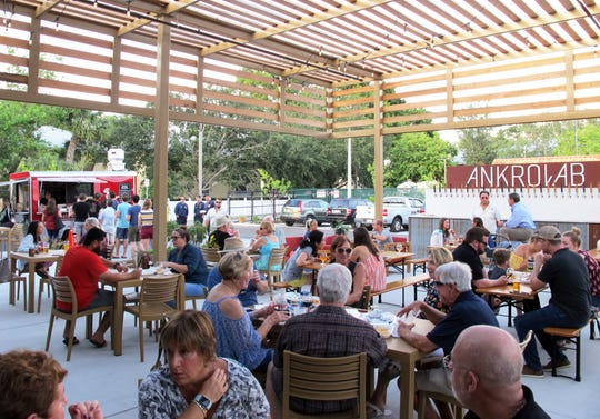 Ankrolab Brewing Co. was packed inside and out all day and night on its opening day, Friday, May 3, 2019, on Bayshore Drive in East Naples.