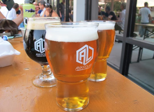 Some of the first beers produced by Ankrolab Brewing Co. on its opening day, Friday, May 3, 2019, on Bayshore Drive in East Naples.