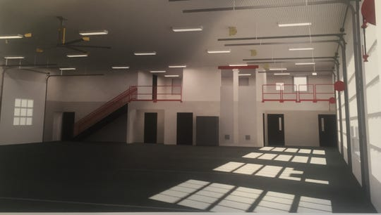 The apparatus bay of the new, two-story Granville Fire Station to be built on Lancaster Road.