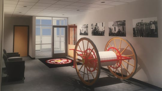 An artist's rendering of the reception area of the new Granville Fire Station, coming July 2020.