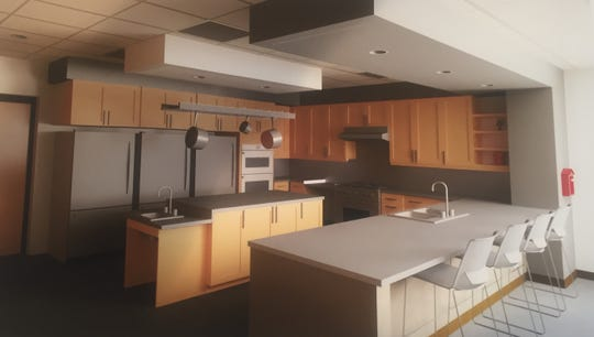 The coming fire station's kitchen/dining area.