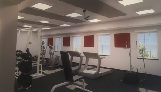 A rendering of the new station's workout room.