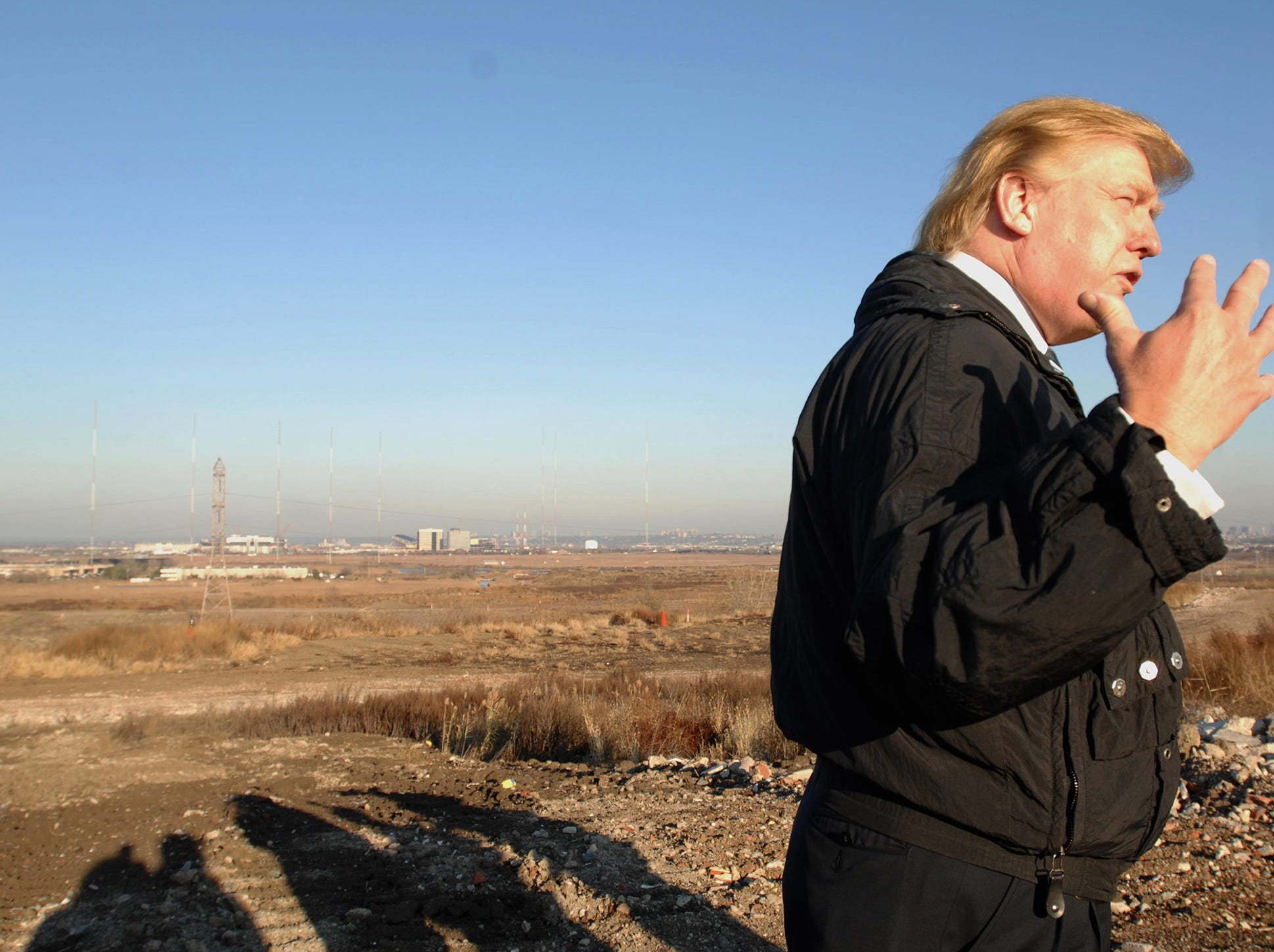 Donald Trump at EnCap site, where he hopes to take over the golf course project, November 29, 2007.