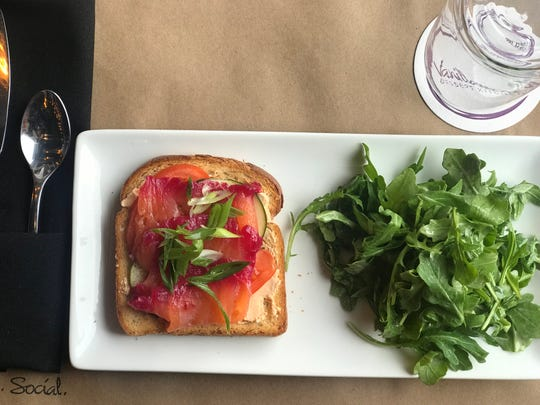 Beet cured salmon at Vanillamore in Montclair