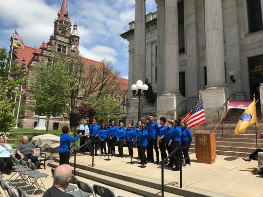 The PCTI Tech-Tones, directed by Tenaya Bascomb, gave a rousing performance in front of the courthouse in Paterson.