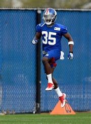 May 4, 2019; East Rutherford, NJ, USA; New York Giants cornerback and first-round draft pick DeAndre Baker (35) runs during a drill during rookie minicamp at Quest Diagnostics Training Center.