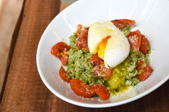 Brown rice grain with soft boiled egg at Vanillamore in Montclair