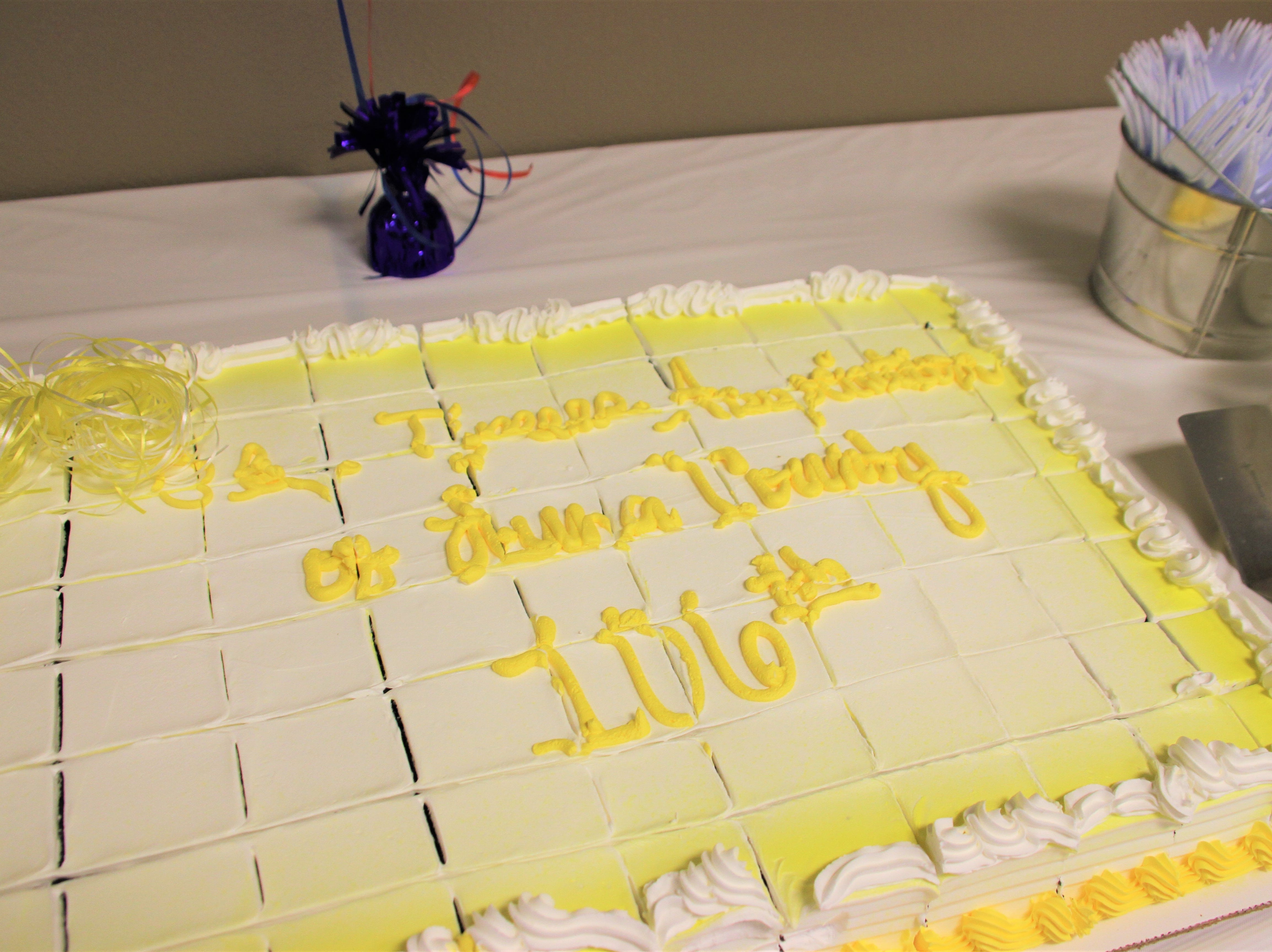 Old Timers Association annual banquet cake. It reads: Old Timers Association of Luna County 106th.