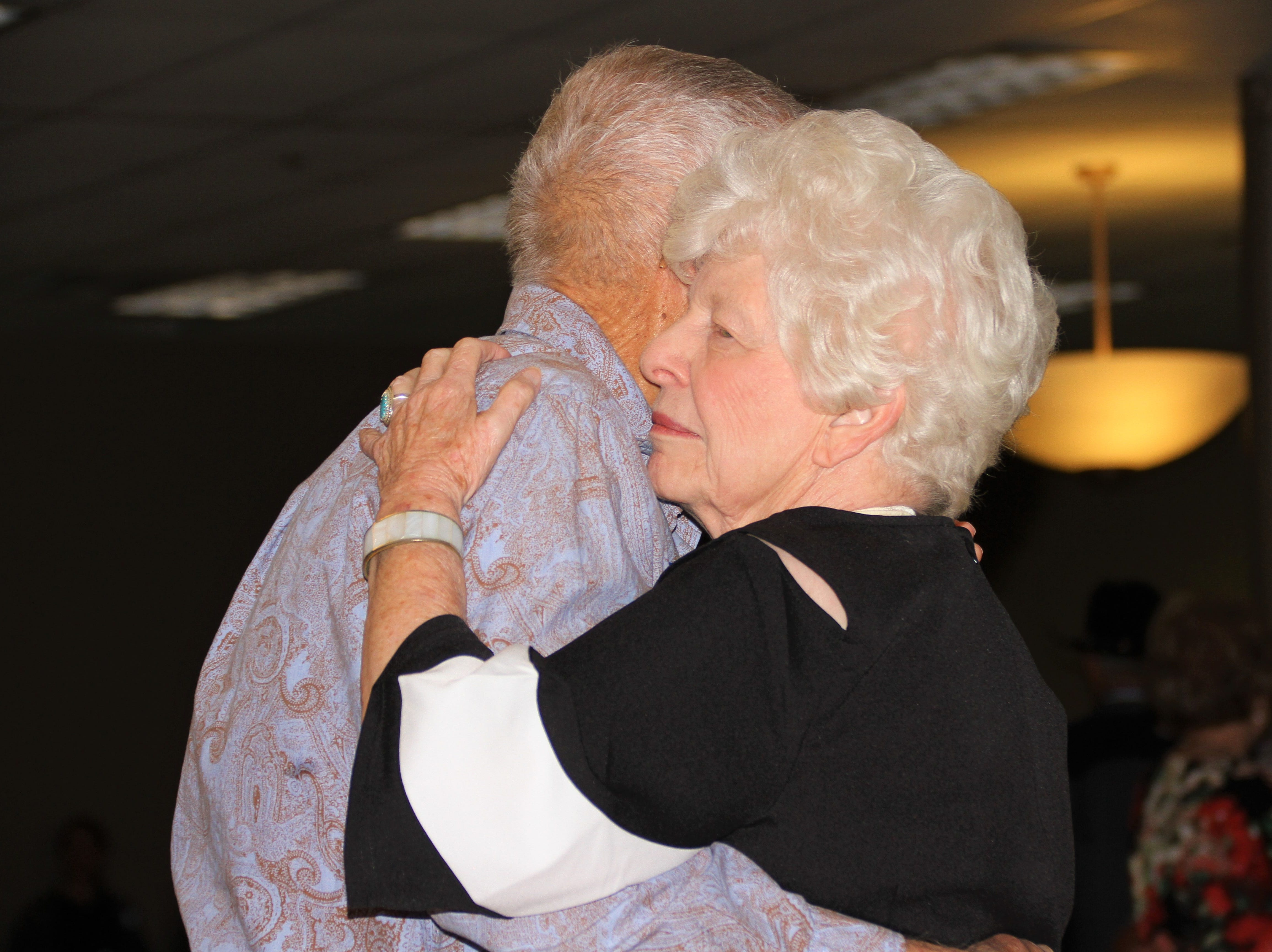 Mary Bowman dancing with Frank Dooley.