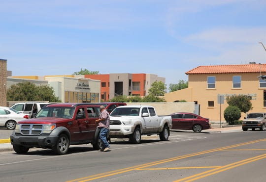 Vehicles line a portion of Water Street in the city of Las Cruces' downtown on Monday, May 6, 2019.