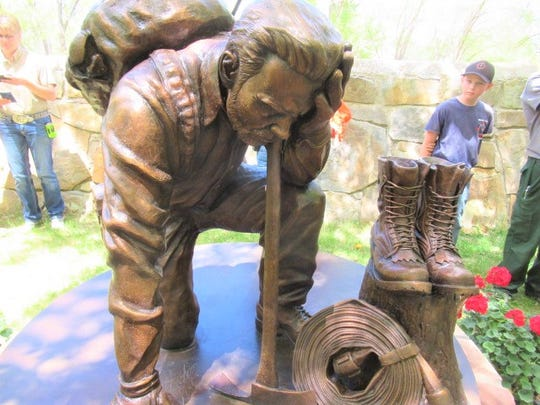 The memorial for fallen wildland firefighters was unveiled at Smokey Bear Historical Park during the Smokey Bear Days festivities over the weekend in Capitan.