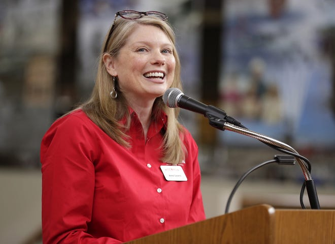 Wisconsin Deputy Secretary of Tourism Anne Sayers speaks during a visit at the EAA Aviation Museum on Monday, May 6, 2019, in Oshkosh, Wis. Wm. Glasheen/USA TODAY NETWORK-Wisconsin.