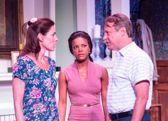 "(From left) Reamy Hall, Nadege August and Michael Matthys star in the CVRep production of ""Good People,"" playing through May 19."