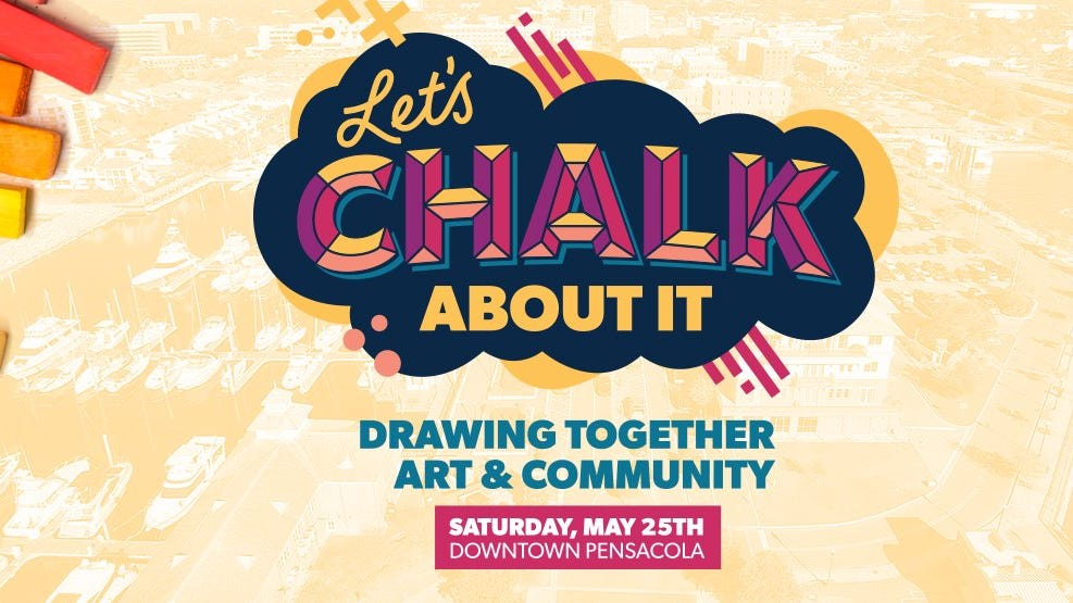 """""""Let's Chalk About It!"""" is where civic engagement and family fun meet on Saturday, May 25. Expect food, music and lots of great chalk art."""