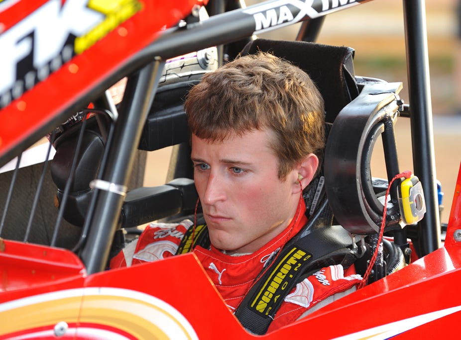 Kasey Kahne watches the gauges on his dashboard as he warms his car up and readies for action at Williams grove Speedway in 2010.