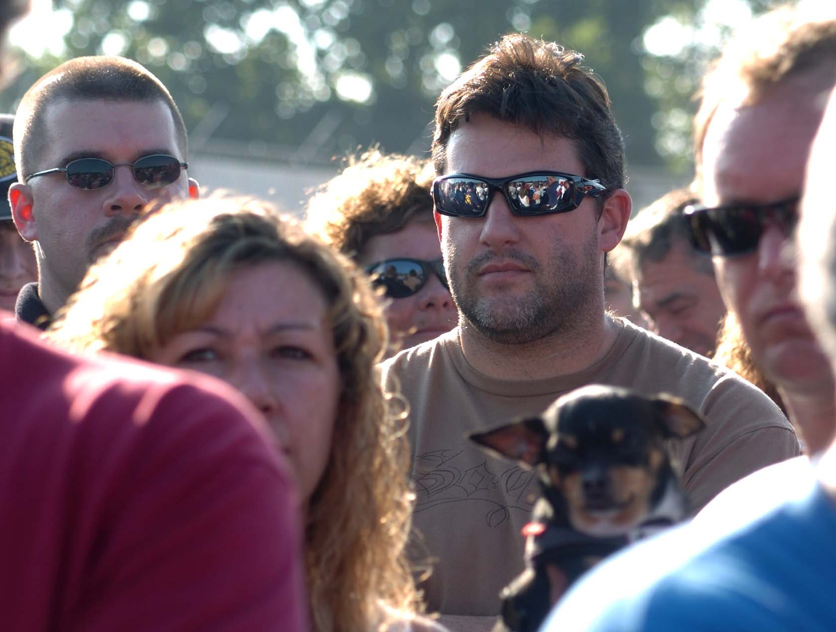 NASCAR star Tony Stewart was just another driver Tuesday at Williams Grove Speedway in Mechanicsburg in 2008 during the drivers' meeting before the dirt-track race to benefit the Kasey Kahne Foundation.