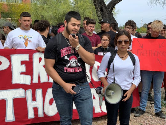 Marcell Ibarra leads a rally to demand the release of Thomas Torres, his best friend and classmate at Desert View High School in Tucson.