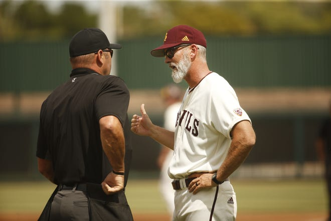 ASU's head coach Tracy Smith argues a call with home plate umpire Patrick Riley during the first inning at Phoenix Municipal Stadium in Phoenix, Ariz. on May 5, 2019.