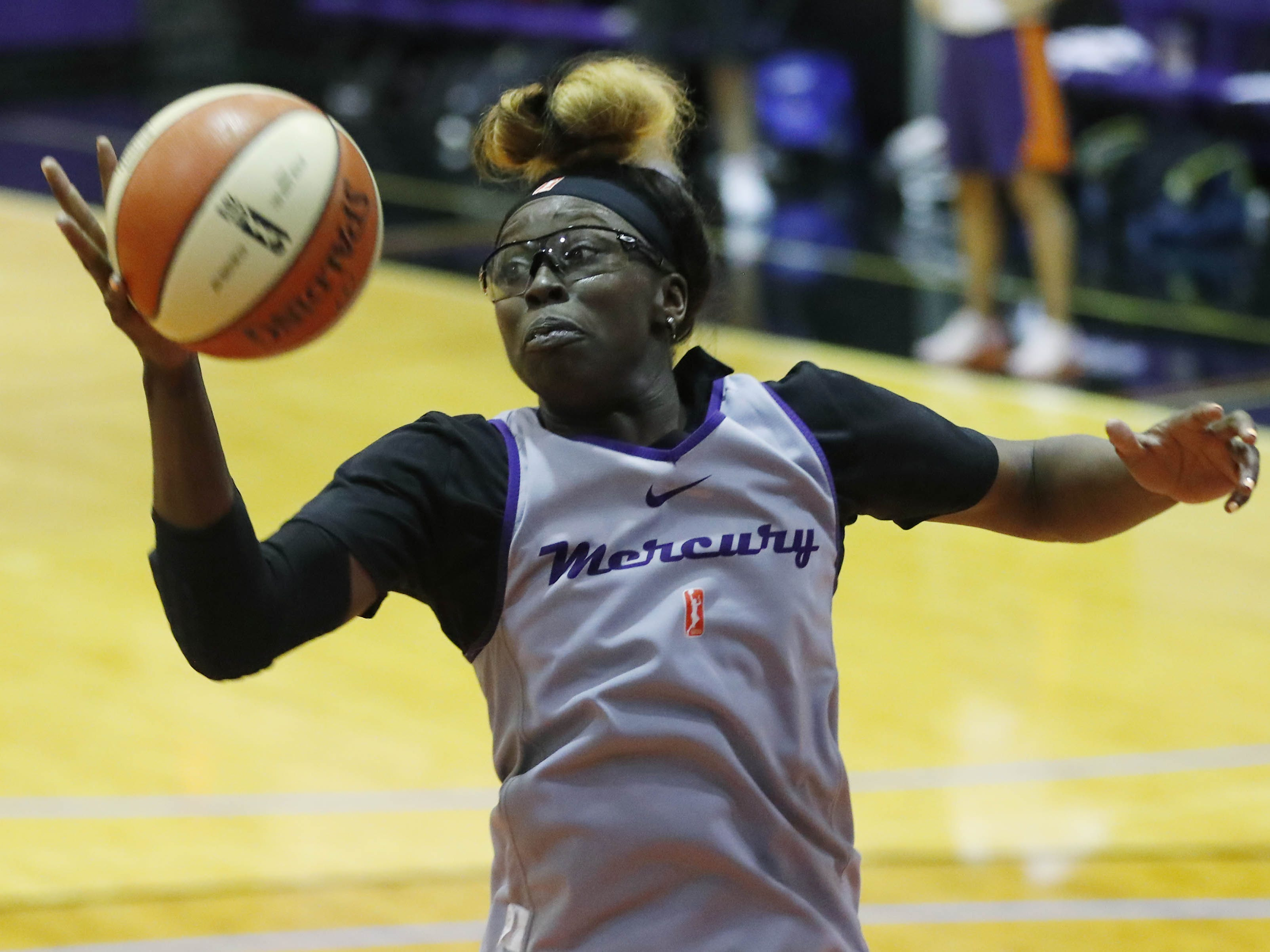 Phoenix Mercury Essence Carson grabs a rebound during training camp in Phoenix May 5, 2019.
