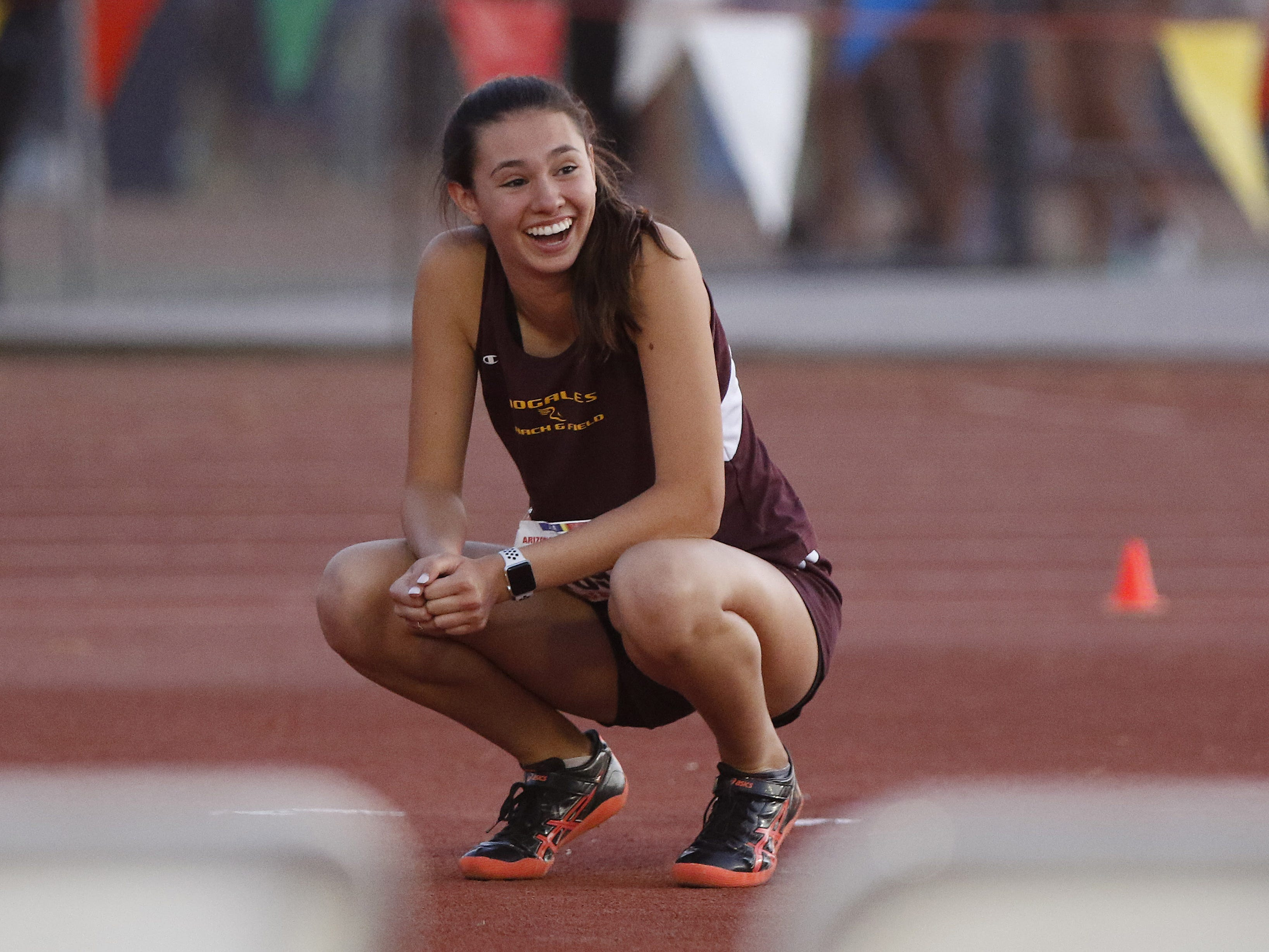 Nogale's Sabina Romero just realizes she won the Division II high jump championship during the 2019 Arizona State Track and Field Championship at Mesa Community College in Mesa, Arizona, May 04, 2019.
