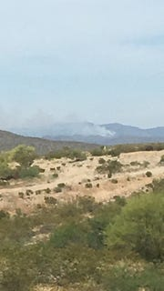 100+ acre Mill Fire as seen from BLM's Weaver Mtn Helibase which is located north of Wickenburg; looking northeast from helibase.