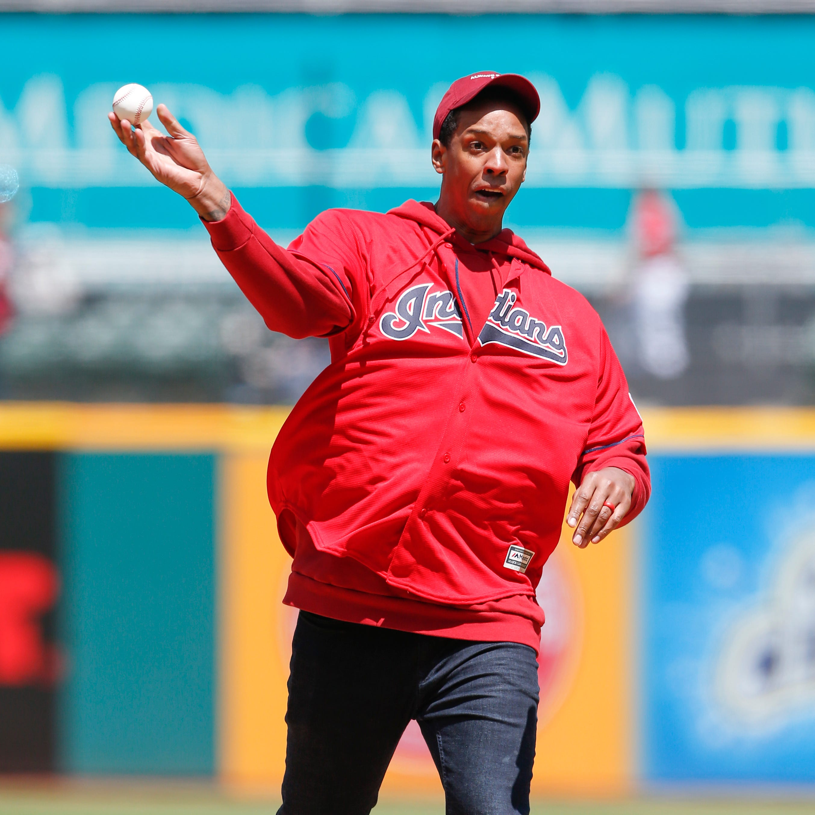 Channing Frye overcomes 'elbow surgery', 'dust devil', 'greased' ball to throw first pitch