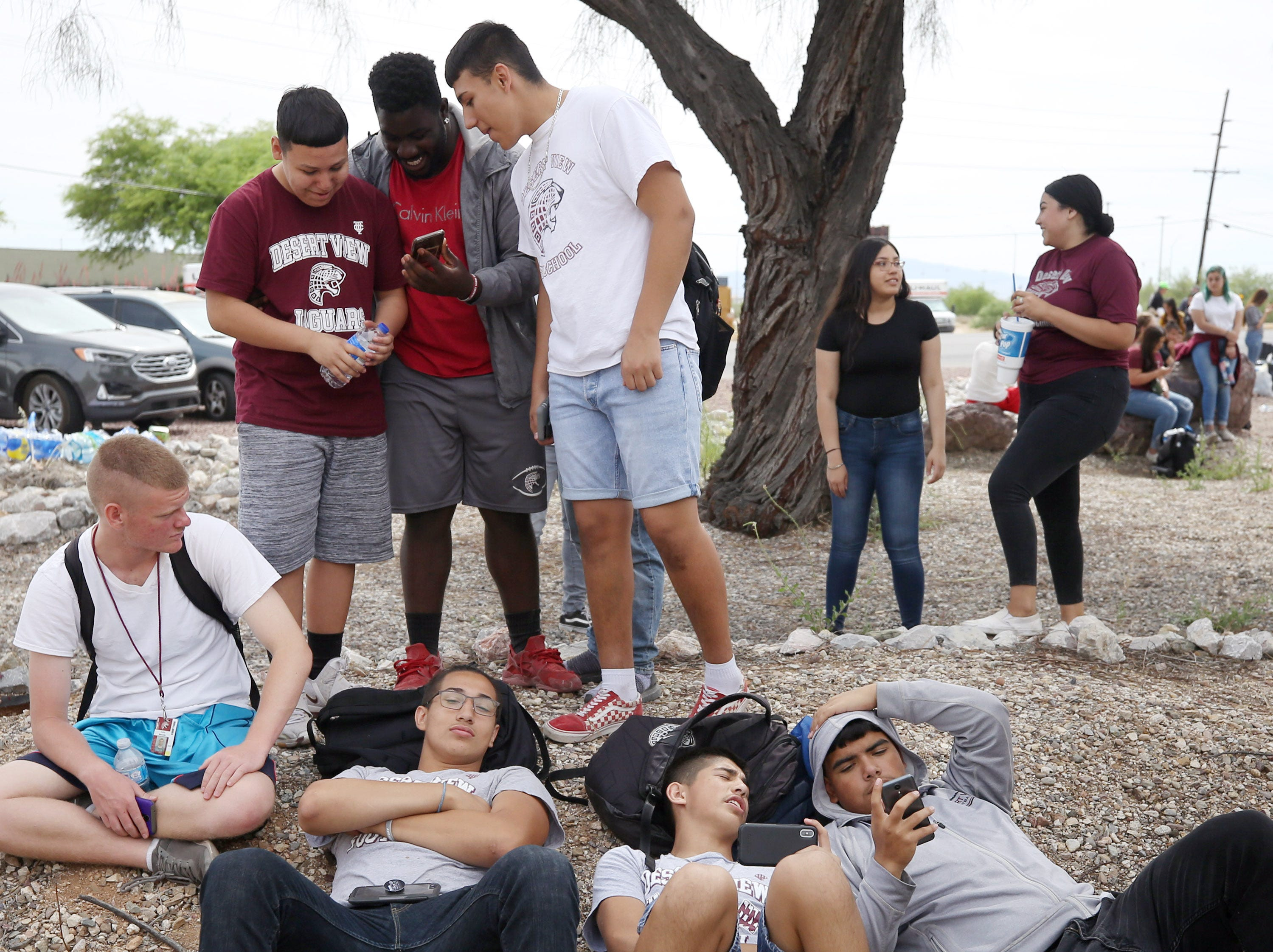 After marching from Desert View High School to the Pima County Sheriff's Department on May 6th, 2019 students take a rest.