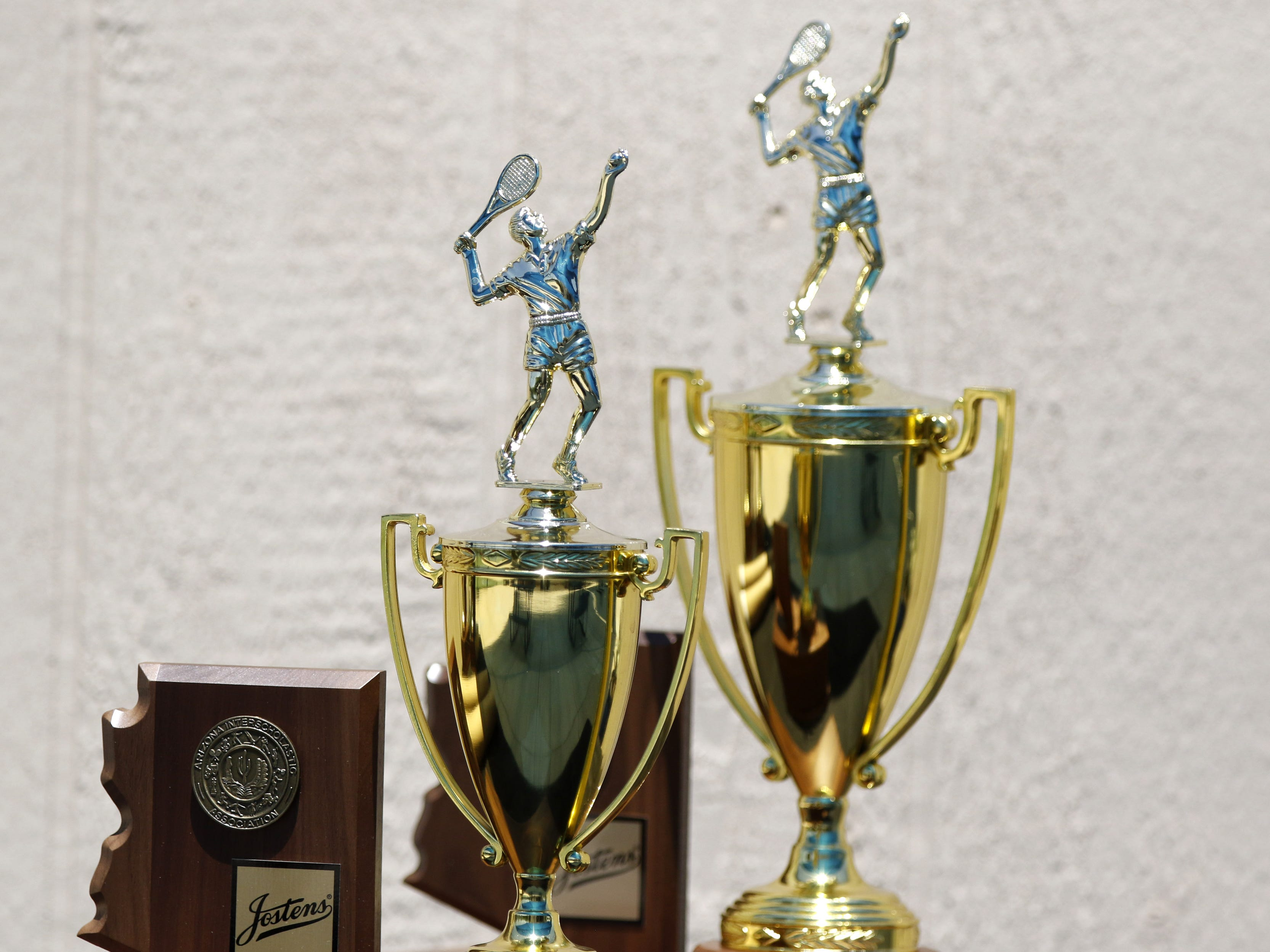 Division III tennis team state championship trophies in Glendale, Arizona, May 04, 2019.