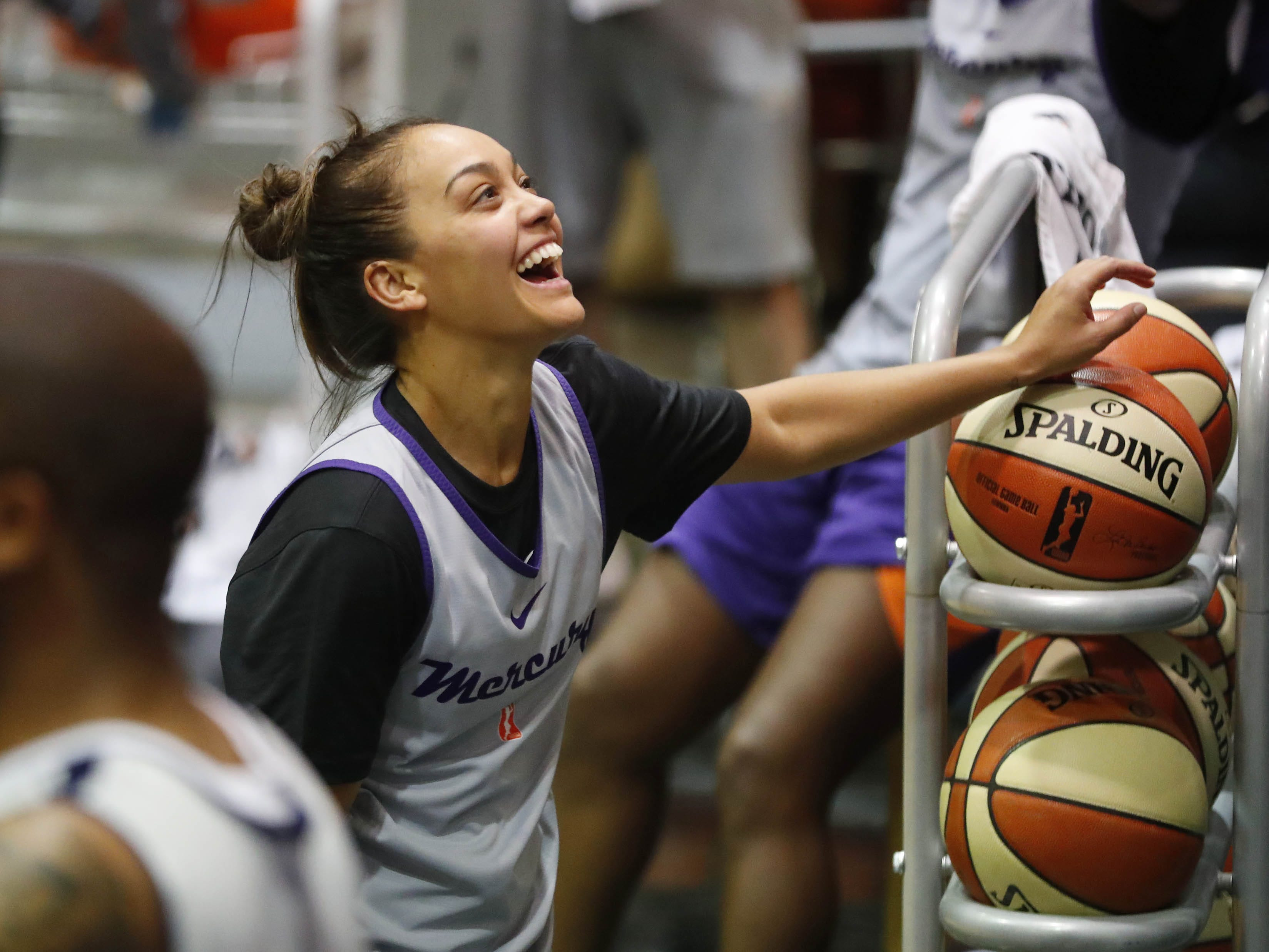 Phoenix guard Mercury Leilani Mitchell laughs during training camp in Phoenix May 5, 2019.
