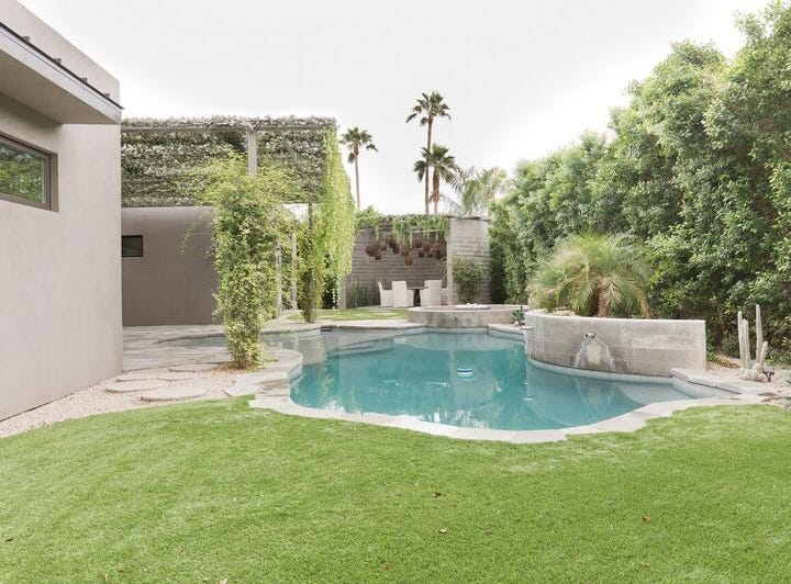 The tired backyard was transformed into a modern oasis.