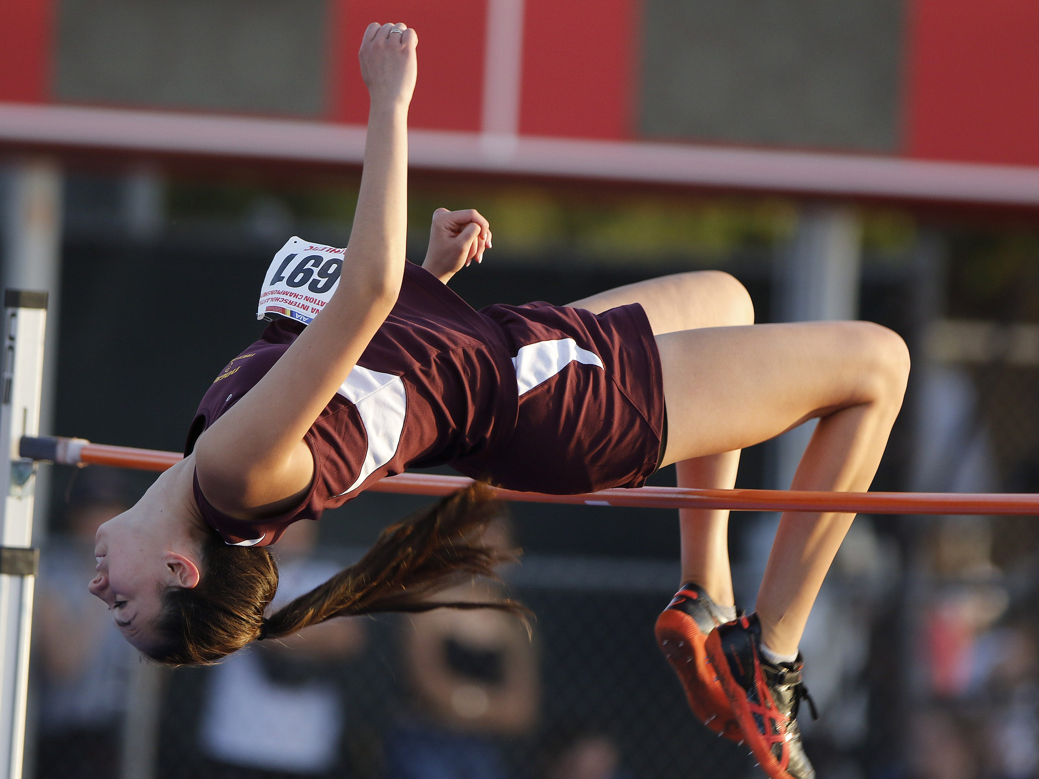 Nogale's Sabina Romero clears 5'4 and goes on to win the Division II high jump championship during the 2019 Arizona State Track and Field Championship at Mesa Community College in Mesa, Arizona, May 04, 2019.
